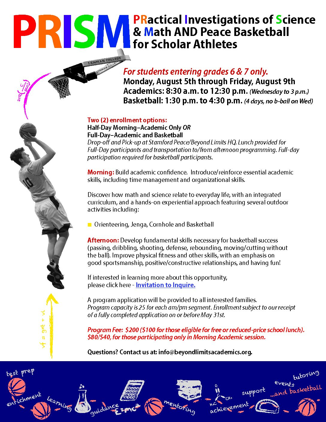 PRISM and Peace Basketball for Scholar Athletes – Beyond Limits